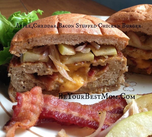 Apple Cheddar Bacon Stuffed Chicken Burger | Be Your Best Mom